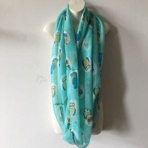 FREE! Aqua sky Turquoise wise owl teacher scarf